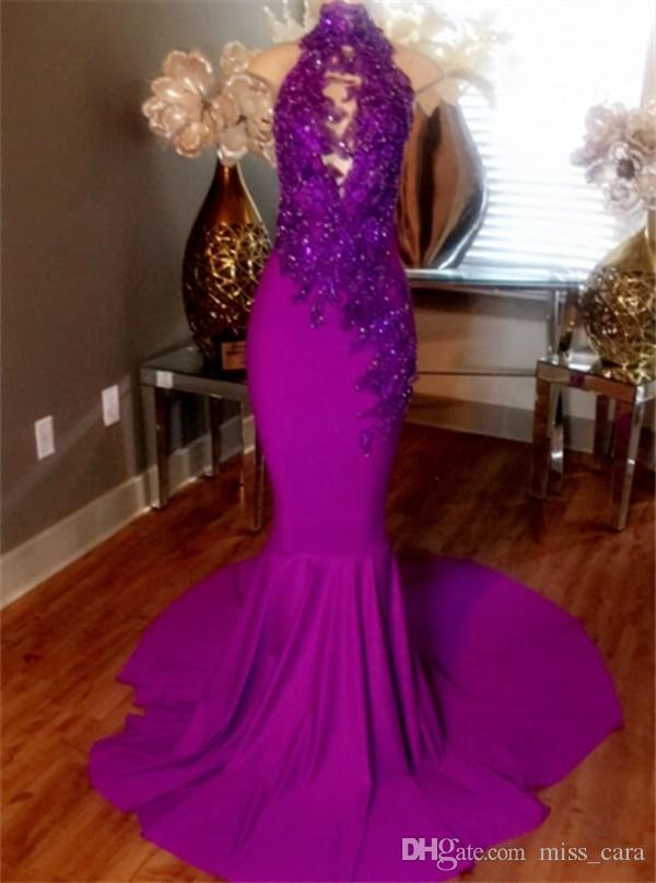 Sparkle Purple Sequin Mermaid Prom Dresses Long High Neck Lace