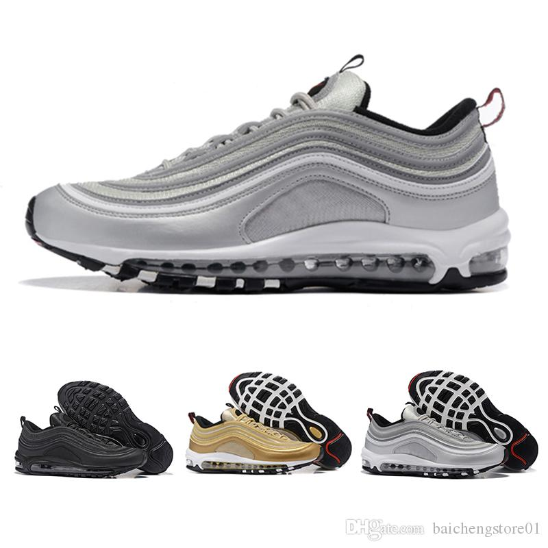 nike air max 97 airmax Hommes Chaussures De Course Basse Coussin Hommes Femmes Taille OG Argent Or Anniversaire Edition Sneakers 97S Sport Athlétique