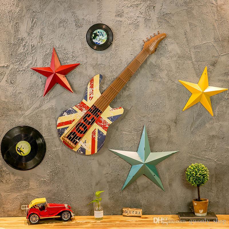 Retro 3D a cinque punte Star Wall Stickers da parete Targhe in metallo Hanging Craft Ornament Poster da parete Decorazioni decorative Home Decor