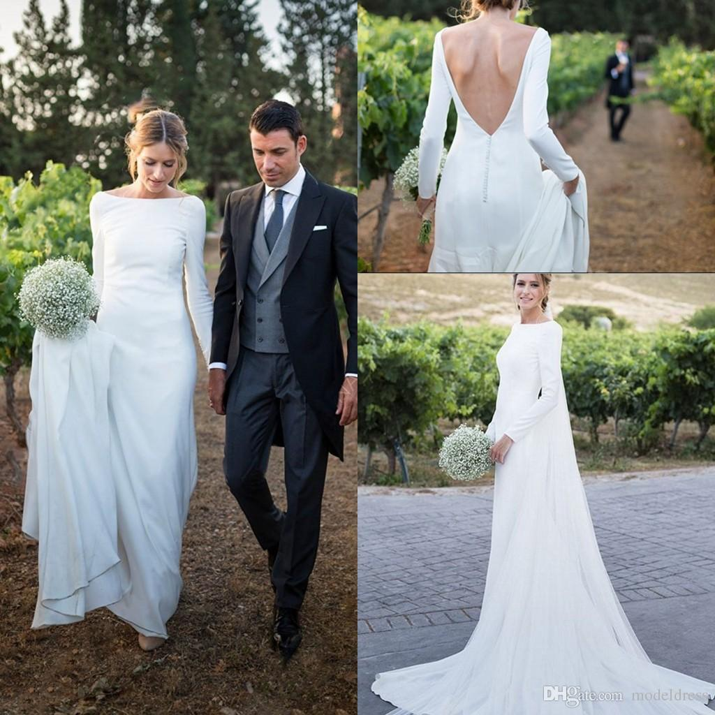 2018 New Country Wedding Dresses Long Sleeves Bateau Sheath Backless Court Train Dress For Bridal Gowns Vestidos De Noiva Cheap Customized Gown