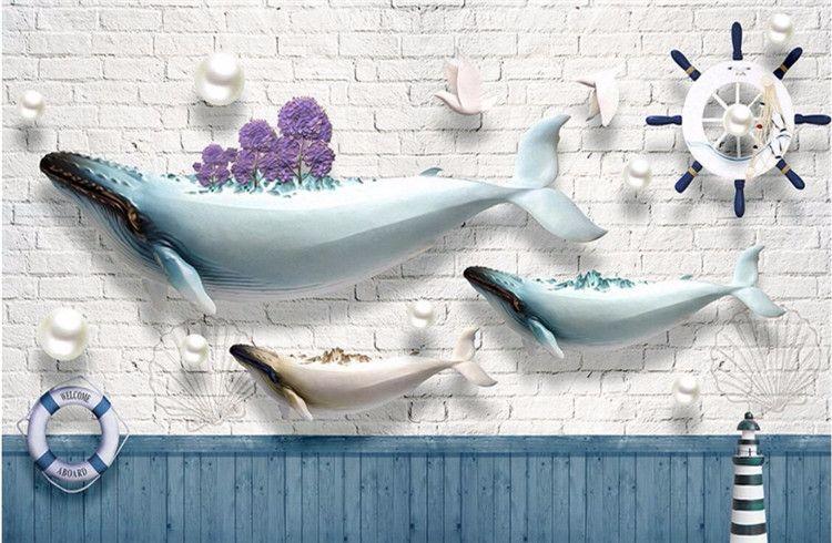 Custom Photo Wallpaper Mural Sticker Ocean Whale Lighthouse Sailing Boat Brick Mediterranean Continental Backdrop Wall 3d wallpaper
