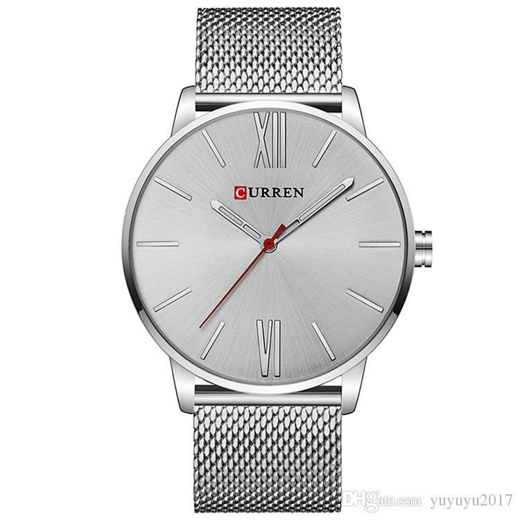 5042d0adea0 CURREN Brand 2017 Tops Simple Minimalism Luxury Quartz Wrist Watches For  Men Relogio Masculino Black   Gold Stainless Steel 8238 Watch Deals Online  Wrist ...