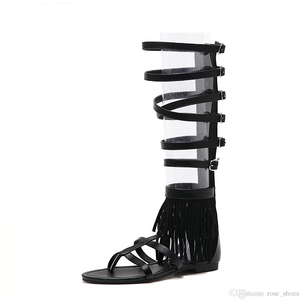 2018 Gladiator Sandals Women Tenis Feminino New Fashion High Quality Ankle Knee Flat Shoes For Woman Tassel Beach Sandals