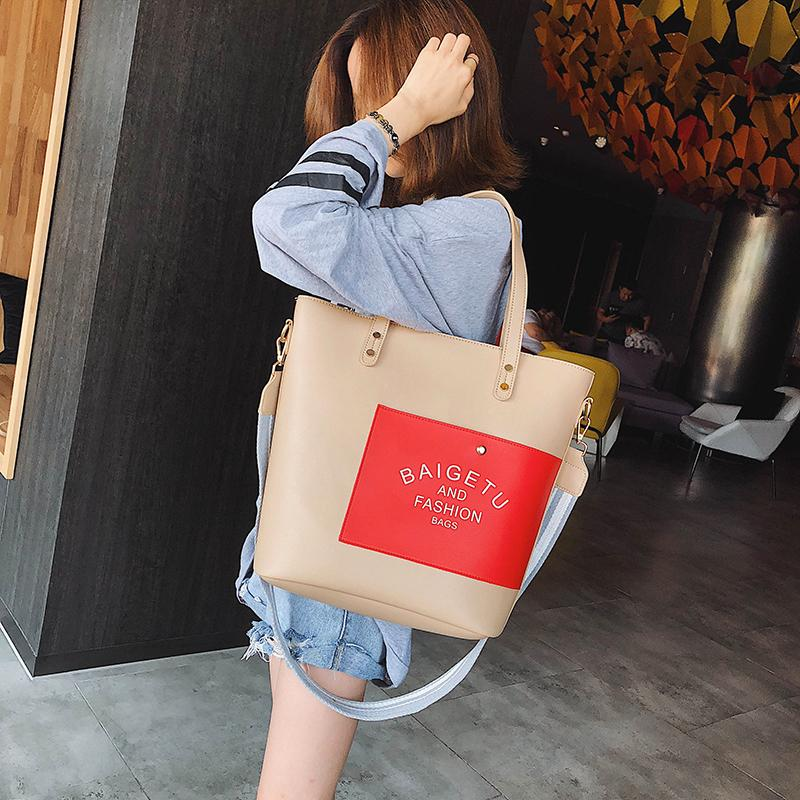 24eccf635354 Fashion Top-Handle Women Handbag Patchwork PU Leather Shoulder Bag ...