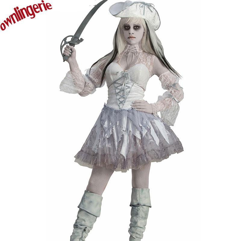 Compre Disfraz De Tres Piezas Pirata Blanco Y Negro Para Mujeres ... 45785d7d3f6b
