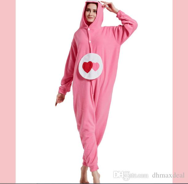 2aa7d558d1 New Women Pajamas Home Wear Adults Heart Bear Hooded Zip One Piece ...