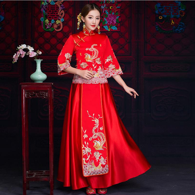 2018 New Red Traditional Chinese Wedding Dress Qipao National ...
