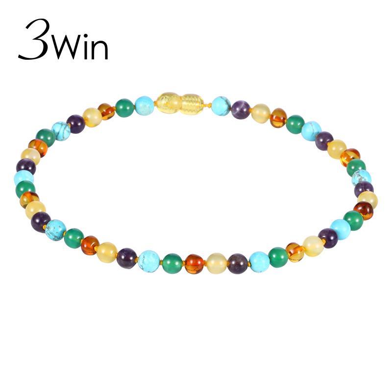 WinWinWin Амбар Ожерелье для ребенка мама подарок тигровый глаз природных смешанных камней сертифицированный 100% Балтийский природных Амбар бусины ожерелье