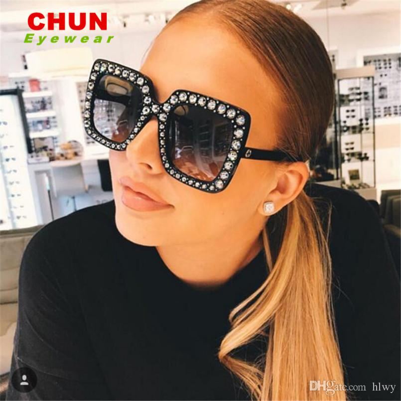 f82e5753fc CHUN 2018 New Luxury Brand Designer Ladies Oversized Square Sunglasses Women  Diamond Frame Mirror Sun Glasses For Female Circle Sunglasses Glass Frames  From ...