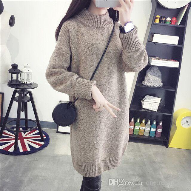 Compre Invierno Largo Grueso Suéter Falda Conjunto Vestido Suelto Femenino  Medio Alto Collar Coreano Capa Que Basa El Suéter A  24.13 Del  Onetreetrading ... 1a6e411c18e7