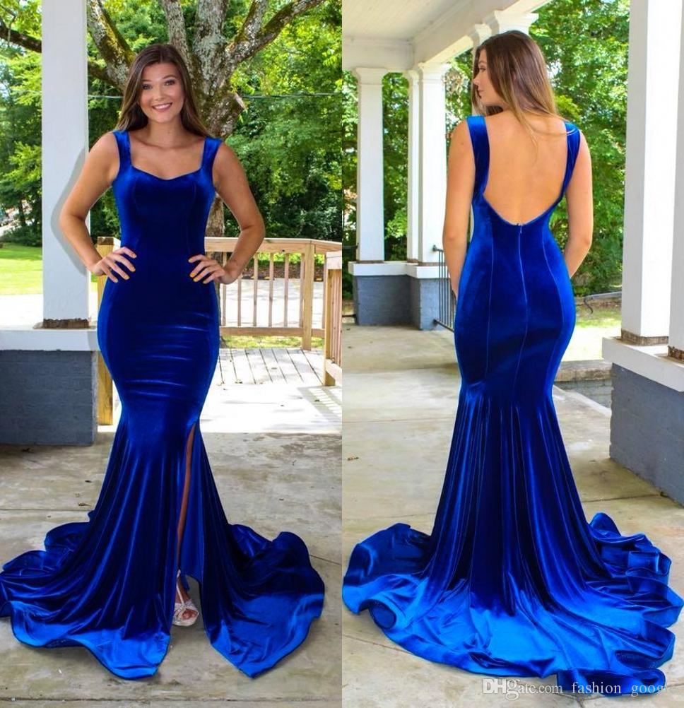 c23becfa415 Velvet Prom Dresses 2k18 With Straps Mermaid Royal Blue Formal Evening Dress  Split Side Open Back Custom Made Beach Dresses Beautiful Dresses From ...