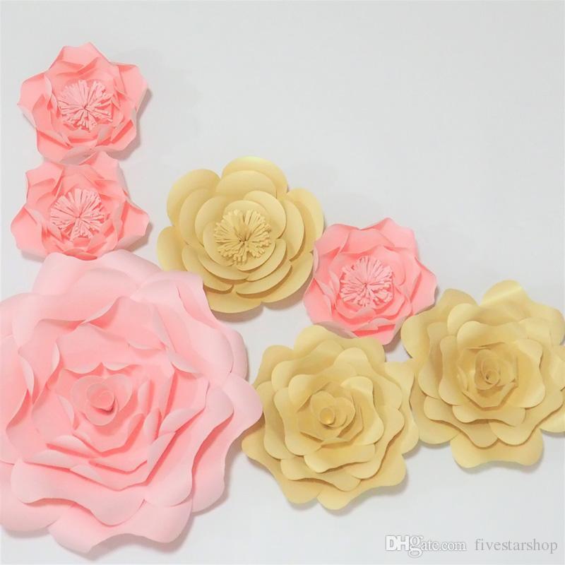 7 adet set Dev Kağıt Çiçekler Vitrin Düğün Arka Planında Sahne Için flores artificiais para decora o Bebek Duş