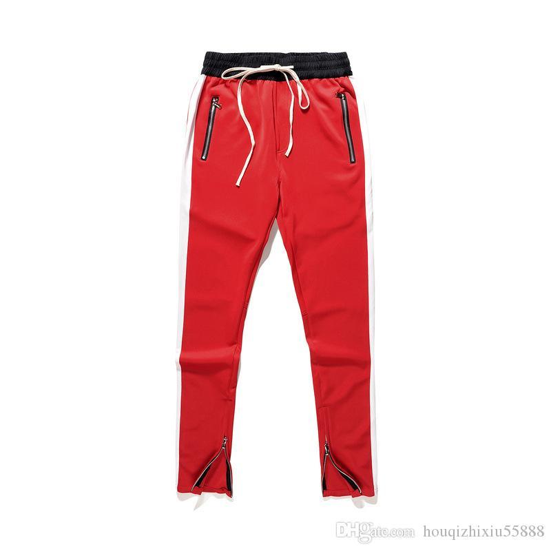 3eeaf329 Cintura elástica nuevos pantalones de chándal a rayas otoño niebla  pantalones largos hip hop patineta moda miedo de dios sueltos corredores ...