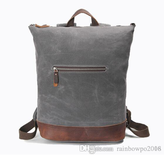 fac4e88f10db Head Layer Cowhide Backpack Restoring Ancient Ways College Wind Oil Wax  Waterproof Canvas Men Backpack Contracted Large Leather Travel Bag  Dispicable Me ...