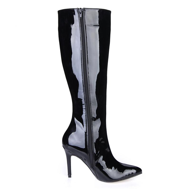 9.7cm Fashion Sexy Women Boots Pointed Toe Black Patent Leather Boots for Women Knee-high Zip Dress Boost Designer Sexy Boots Party, 35-43