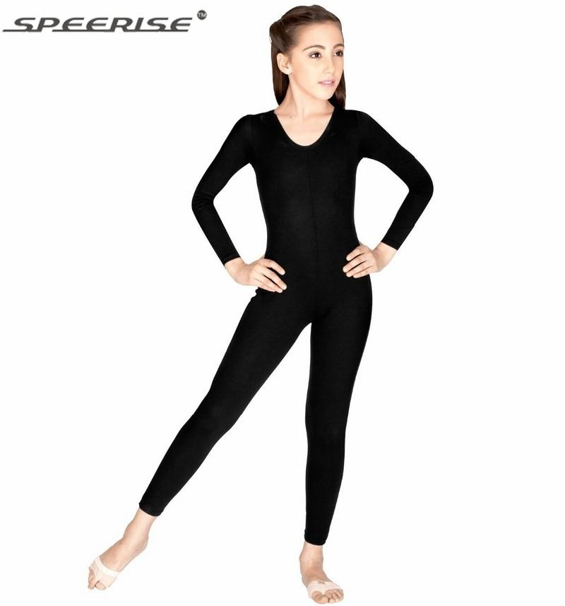 fb29abdbd03a 2019 Speerise Girls One Piece Scoop Neck Long Sleeve Lycra Spandex ...