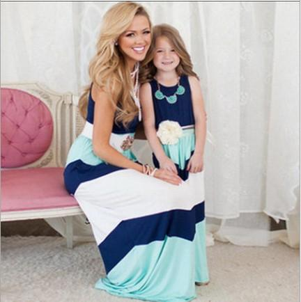 INS Hot Mom and Daughter Outfits Mommy and Me Familia a juego Hija Vestidos sin mangas Patchwork Vestido largo 5 Estilos M047