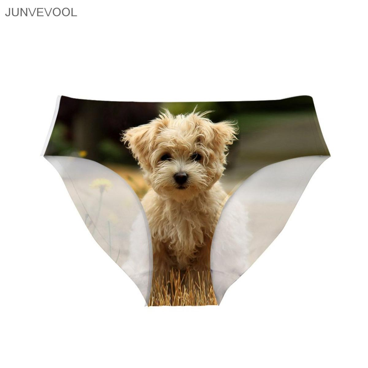 Womens Cotton Underpants Sexy Women Lady Underwear Briefs Panties G-string 3D Tattoo Thongs Lingerie Cute Smile Dog Print Animal