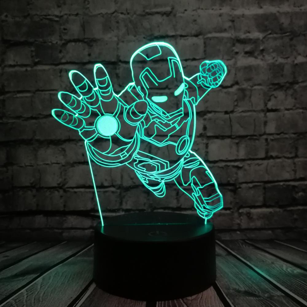 Acheter Nouveaute 3d Nuit Eclairage Super Heros Iron Man Action