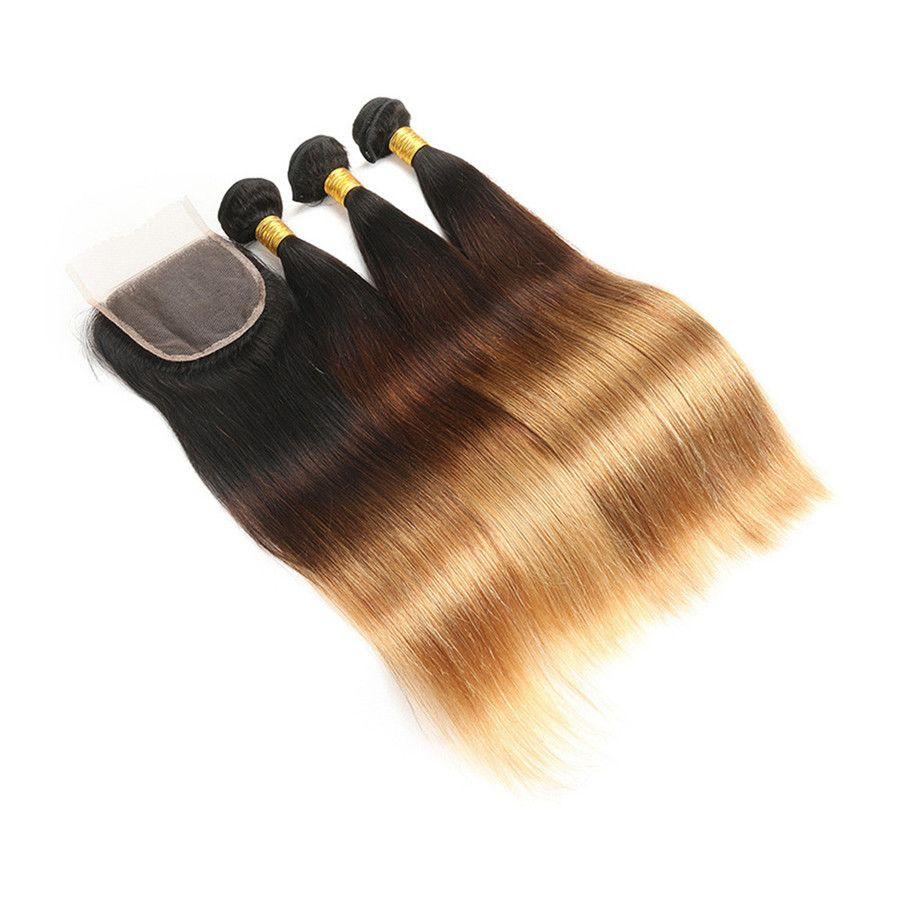ثلاثة لهجة بيرو العذراء الشعر مع الدانتيل أمامي الحرير مستقيم 1b 4 27 الملونة العسل شقراء الشعر غير المجهزة مع 13 * 4 أمامي إغلاق