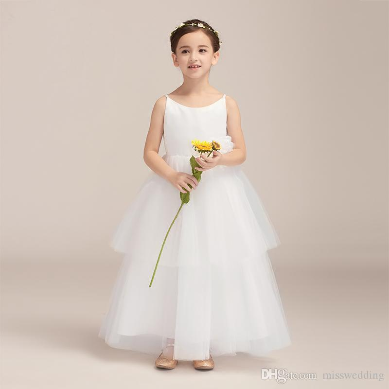 597cd57632a4 Simple Design Thin Straps Ball Flower Dress Girls With Handmade ...