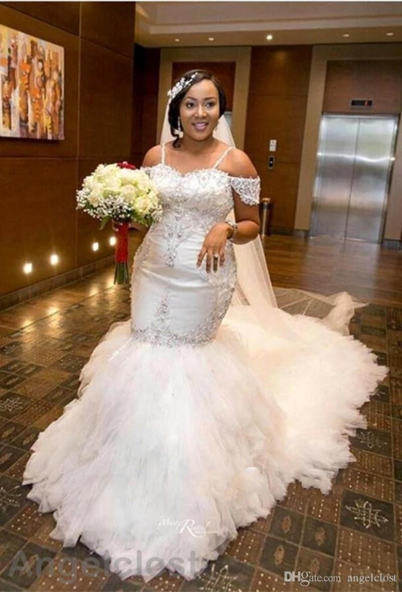 Luxury Lace Mermaid Wedding Dresses African 2018 Boat Neck Backless Court Train Spaghetti Straps Bridal Gowns Plus Size Customized