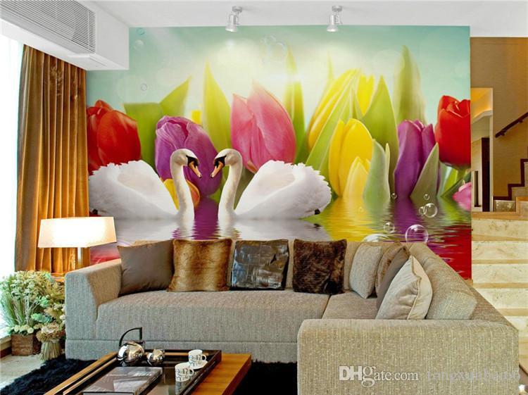 Hermoso Lago de los cisnes Foto de encargo papel pintado del arte wallpaper restaurante retro sofá telón de fondo 3d papel pintado 3d mural papel de pared decoración del hogar