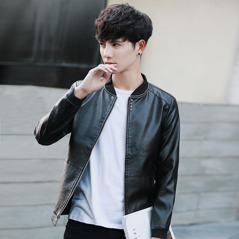 2019 Mens Brown Leather Jacket Motorcycle Jacket Young Men Slim Fit