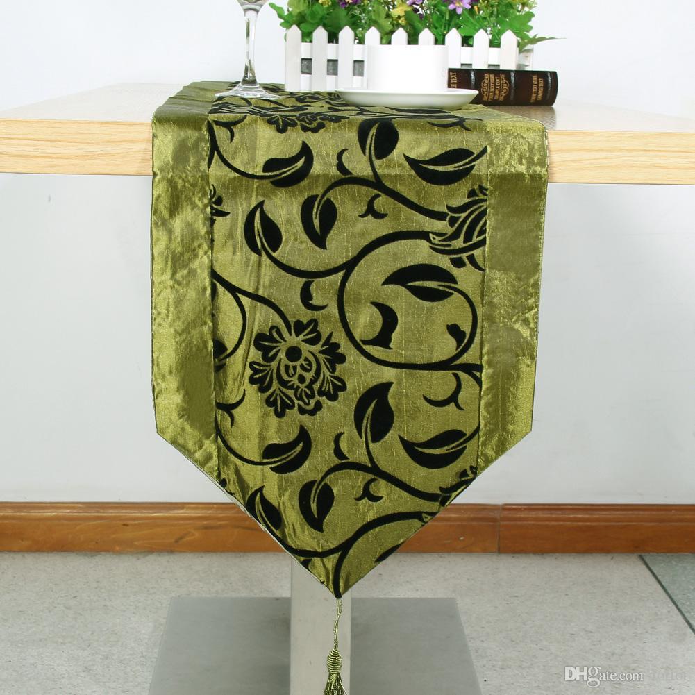 Masa Örtüsü Avrupa Çiçek masa örtüleri Parti Düğün Dekorasyon Çiçekler Floklu Damask Masa Runner Bezi Kapak Yükseltilmiş