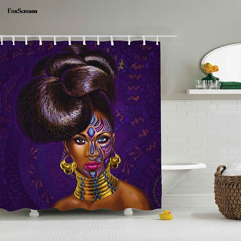 Compre Banheiro Africano Mulher Cortina De Chuveiro Tecido Polister Banho Decorao Para Casa Roxo Cortinas Williem