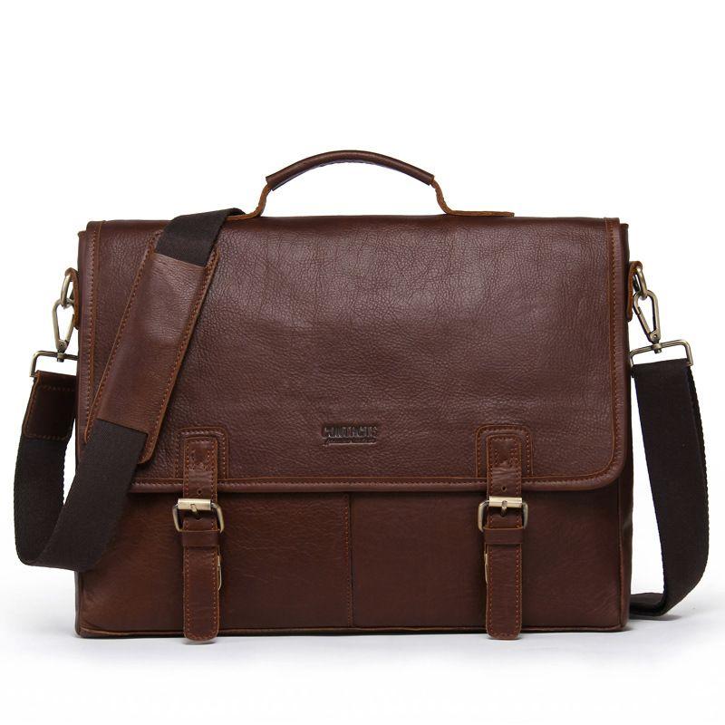 b0497082 2018 Genuine Leather Mens Bags Tote Crossbody Bags Men's Briefcase Laptop  14 Messenger Bag Men's shoulder bag Vintage handbag