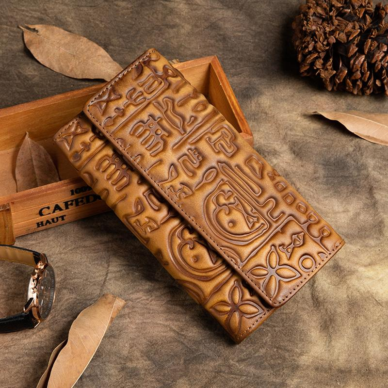 Vintage Hasp Genuine Leather Women Wallet New design Long Clutch Cell Phone Coin Purse with Card Holder Purse Three Fold