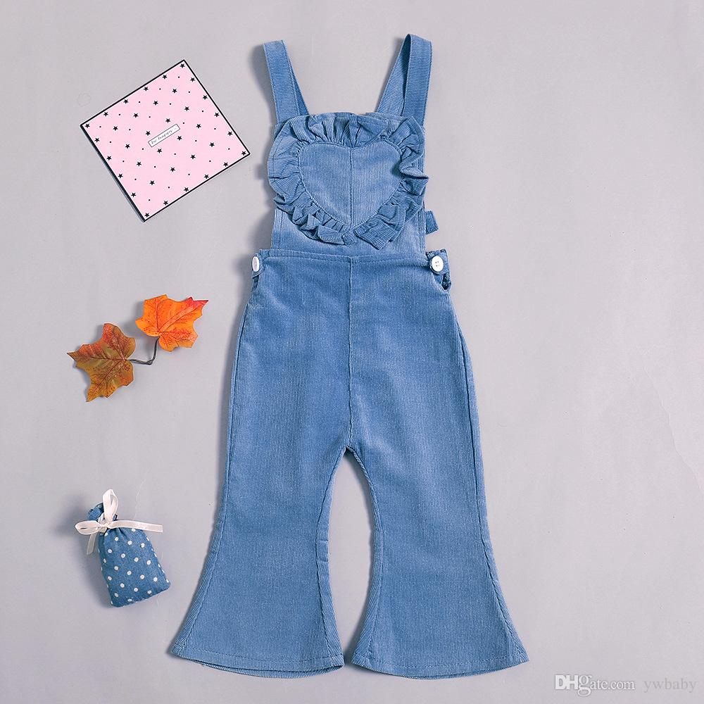 2cac3c89163e Girl Pants Denim Overalls Autumn 2019 Fashion Ruffles Suspender Pants  Children Casual Trouser Kids Clothing Suspender For Toddlers Suspenders And  Tie From ...
