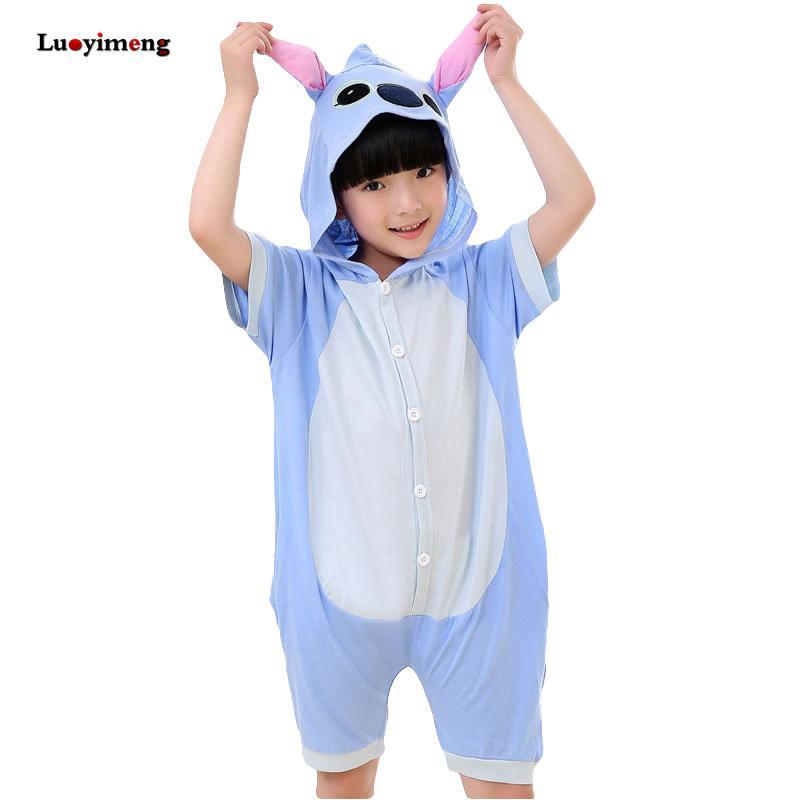 6994cdf005ab Boys Girls Clothes Kigurumi Stitch Summer Cartoon Animal Pajamas ...