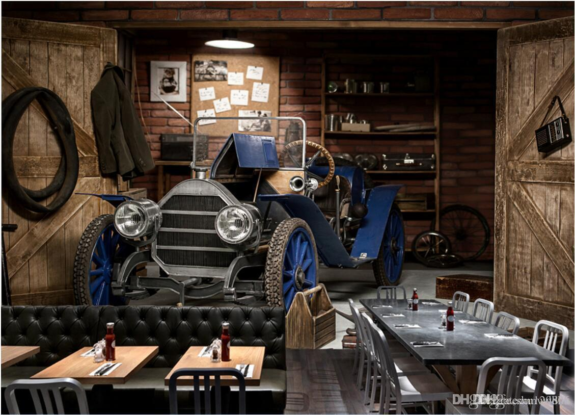 3d Wallpaper Custom Photo Vintage Car Poster Cafe Tv Background Wall