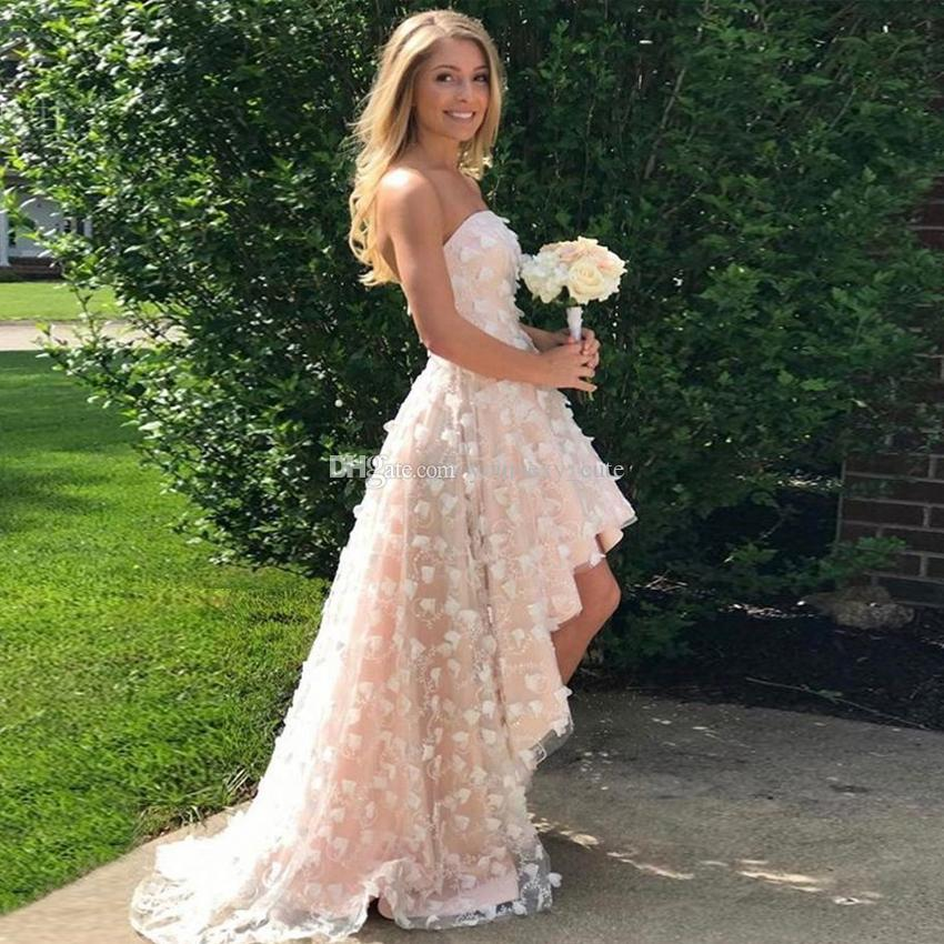 6922678ccd4 Strapless Champagne High Low Prom Dresses 3D Petal Lace Ruffles Homecoming  Dresses Custom Made Party Dresses Sweep Train Prom Dress Outlet Prom Dress  Shoes ...