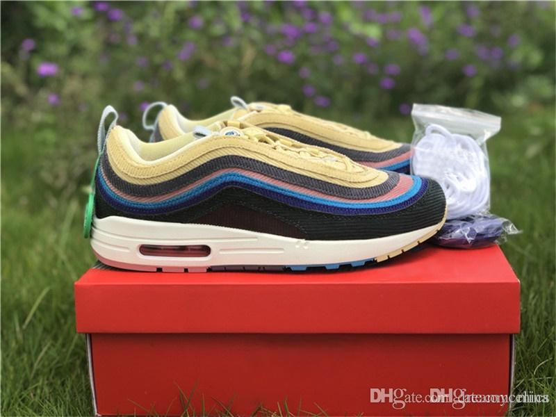 11f9cef98c1faf 2019 Authentic 2018 2197AirMax 1 97 VF SW SEAN WOTHERSPOON Running Shoes  Men Women RainBow With Original Box Lt Blue Fury Lemon AJ4219 400 From  Mics