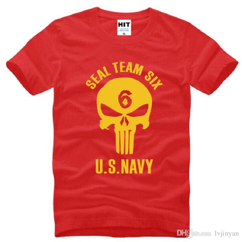 Mühür Takım Altı ABD DONANMA Kafatası Baskılı T Shirt Erkekler Yenilik Kısa Kollu O-Boyun Pamuk erkek T-Shirt Yaz Tarzı Erkek Tee Gömlek