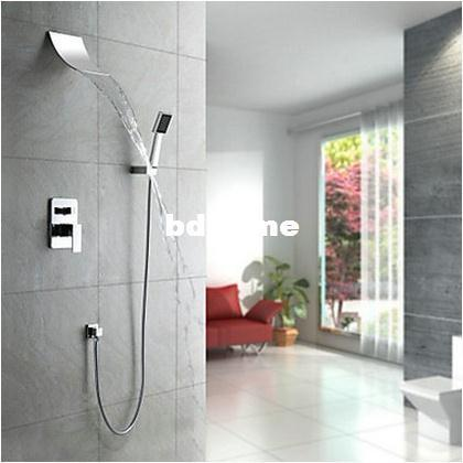 2018 Contemporary Shower Set Wall Mounted Waterfall Bathtub Faucet ...