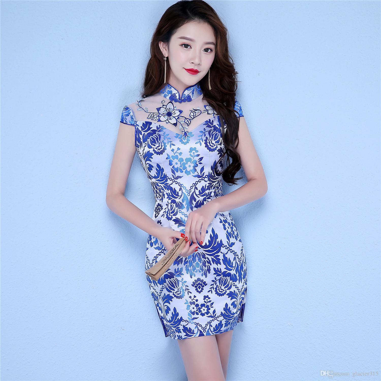 7ac7dff0b47889 Shanghai Story robe de style chinois été Qipao manches courtes Faux soie  soie bleu et blanc robe Qipao robe Cheongsam pour les femmes