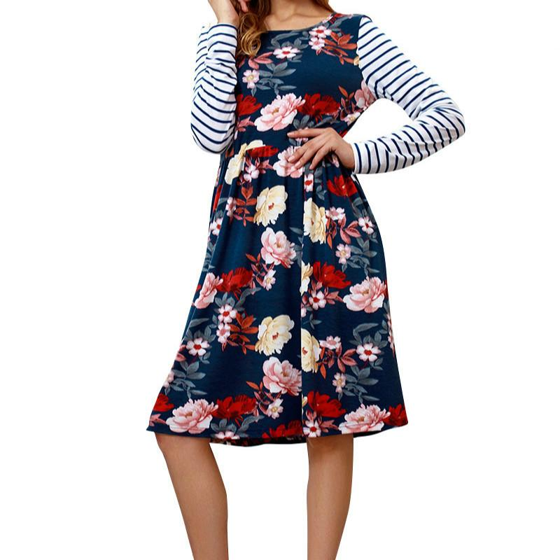 Autumn Long Sleeve Striped Women Bohemia Dress Femme Floral Printed Dresses  Casual Pocket O Neck A Line Sundress Plus Size GV833 White Dress With Gold  White ... d3bbd239be37