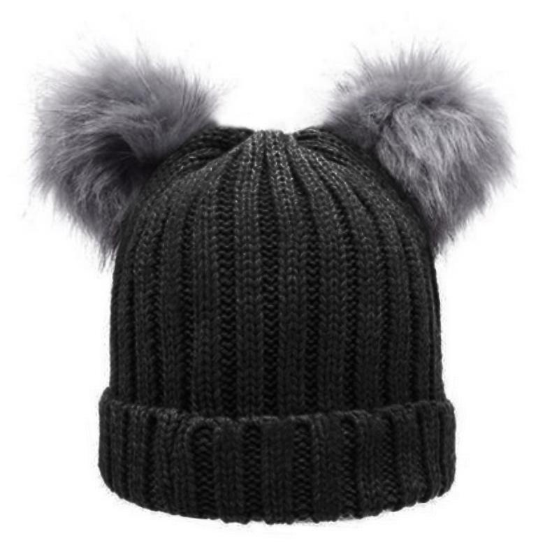 Women S Winter Chunky Knit Double Pom Pom Beanie Faux Fur Hat Women Wool Knit  Beanie Bobble Cap Pompom Beanies Gorros Knit Hat Hats And Caps From  Gwyseller 38c697563fd