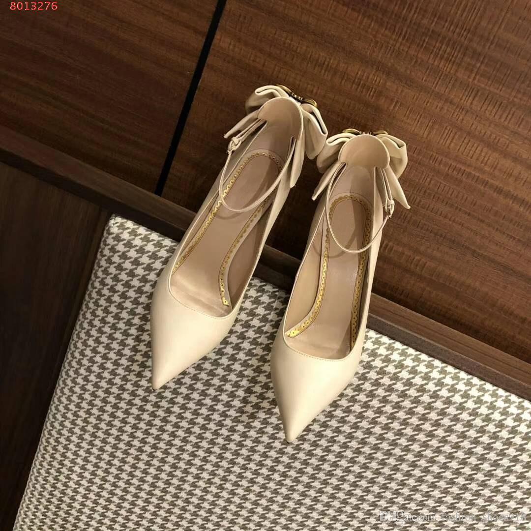 2018 Qualidade Superior Mulher Temperamental Couro Genuíno Pint-tipped Vestido sapatos Sapatos de Festa de Casamento Vestido Tamanho 35-39 Salto Alto 9 cm