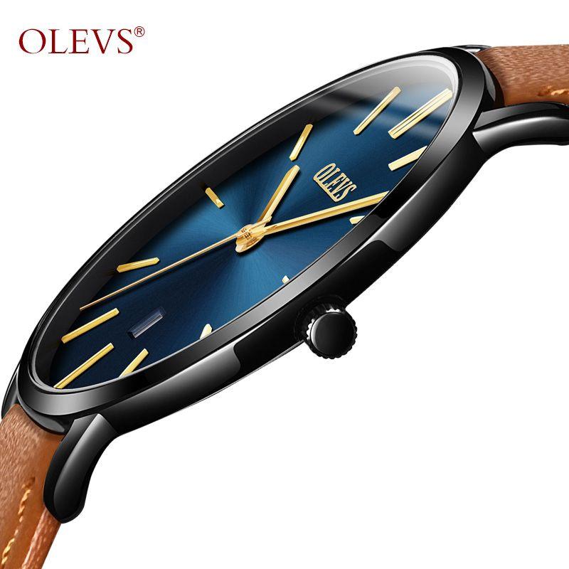 3cb2bb2ec6f Compre OLEVS Ultra Fino Moda Masculina Relógio De Pulso De Couro Pulseira  De Negócios Relógios À Prova D  Água Relogio Resistente Homens Relógio  Relógio ...
