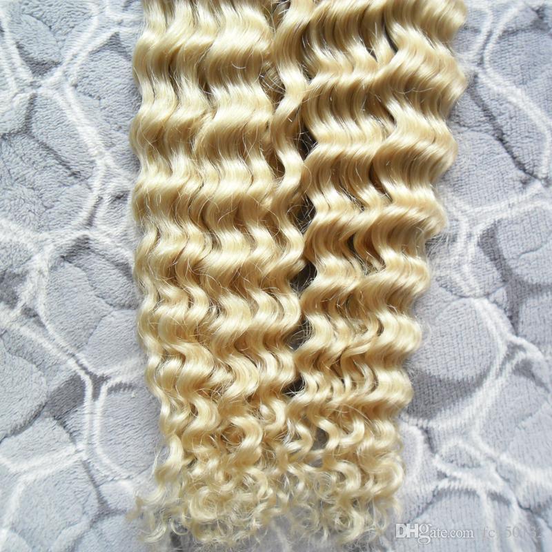 613 Bleach Blonde aplique cinta Adhesive Skin Weft Hair 100g / Set cinta rizada rizado afro en extensiones de cabello humano