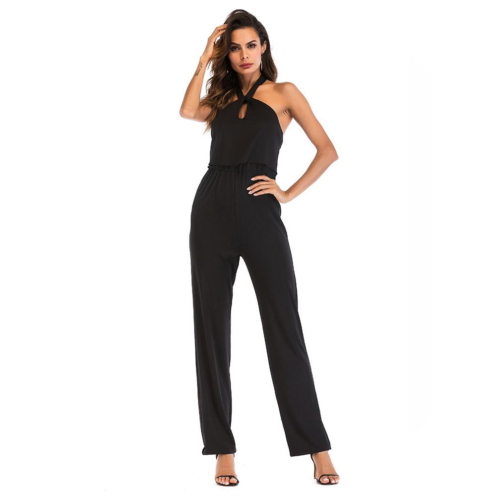 bb9bb619fcdf 2019 S 2XL Women Summer Off Shoulder Halter Jumpsuit Waist Slim Sexy  Jumpsuit Brand Lady Full Length Pant Trousers Jumpsuit From Tumangui8185