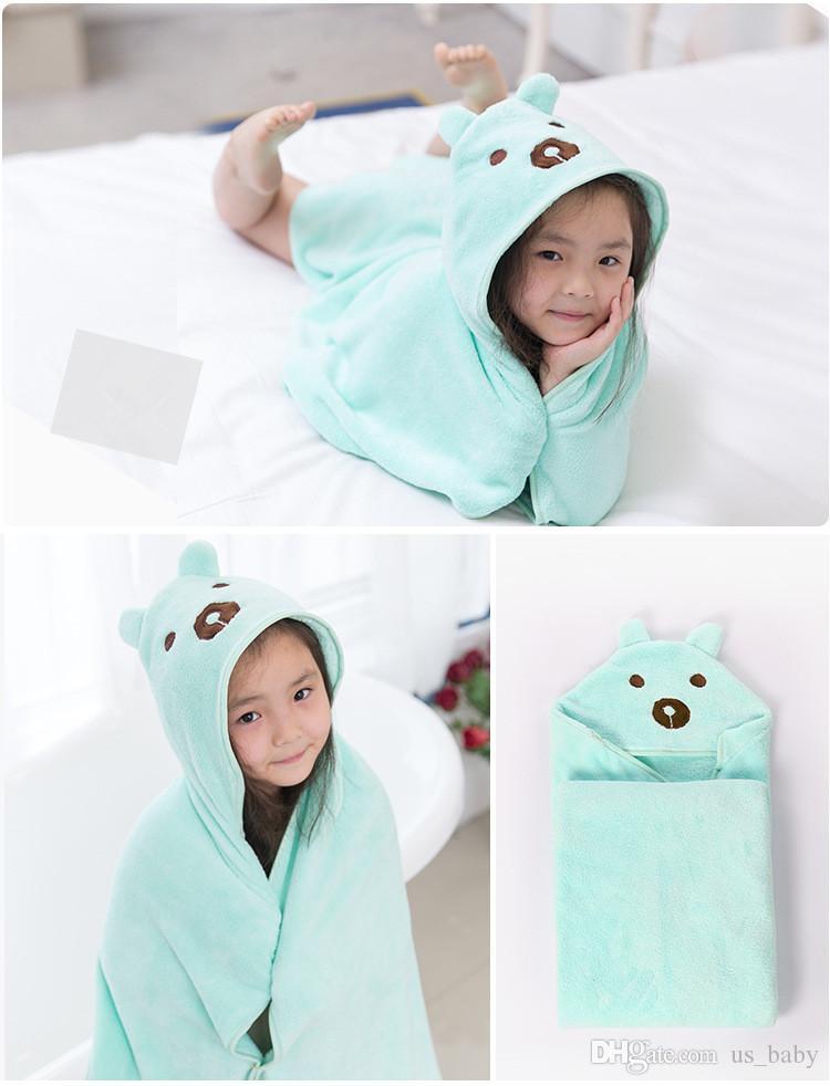 Kids Animal Bathrobe Toddler Girls Boys Cartoon Pattern Towel Hooded Bath Towel Terry Wrap 90*90cm