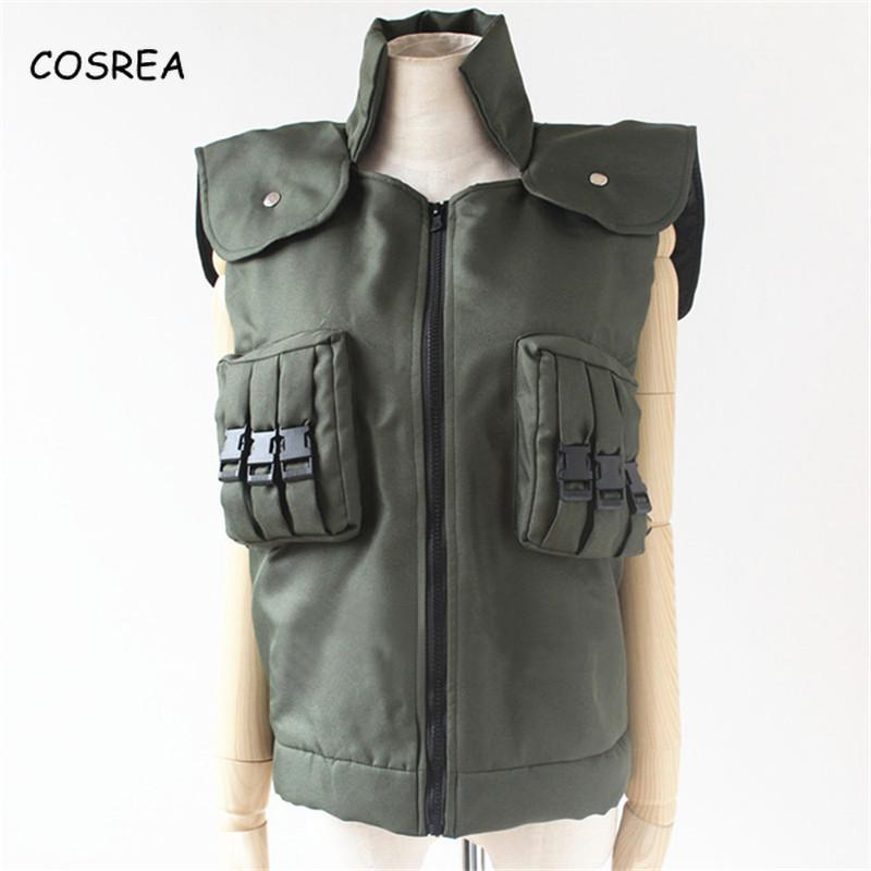 Japanese Anime Naruto Green Unisex Vest Waistcoat Top Zipper Straight Wig Headband Garment Clothing Cosplay Costumes Halloween