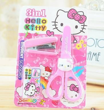 5sets 3 in 1 Cartoon Stationery set forbici cucitrice in gomma per bambini festa di compleanno favori materiale scolastico Accessori Hello Kitty