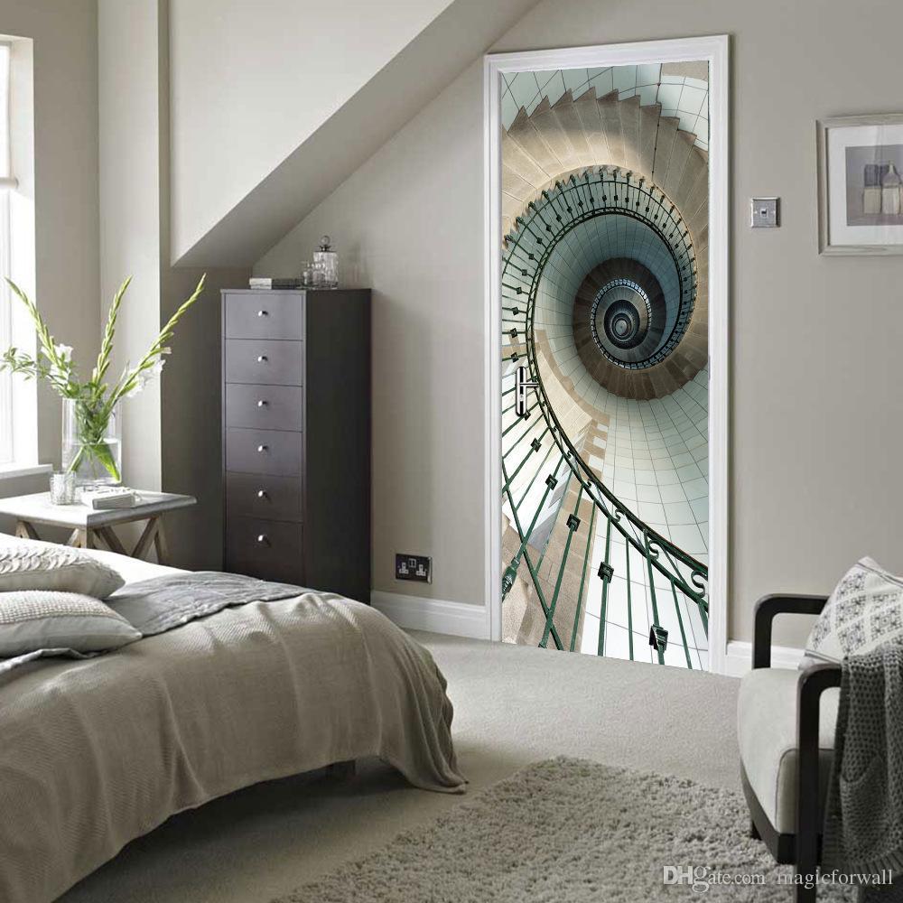 3D Simulation Eye Door Sticker Geometric Stairs Wall Decal Living Room Bedroom Creative Wallpaper Self-adhesive Renovate Door Poster